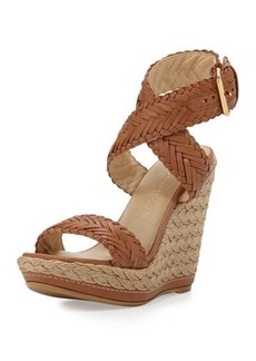 Stuart Weitzman Elixir Braided Leather Wedge Sandal