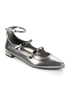 Stuart Weitzman Flippy Patent Leather Buckle Flats