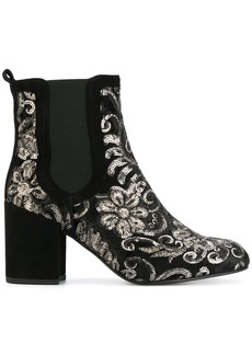 Stuart Weitzman floral sequin heeled booties - Black
