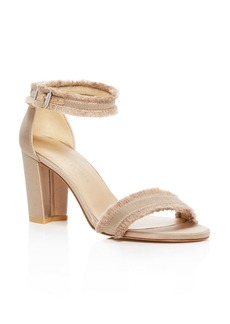 Stuart Weitzman Frayed Satin Ankle Strap High Heel Sandals