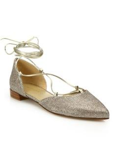 Stuart Weitzman Gilligan Glitter Lace-Up Flats