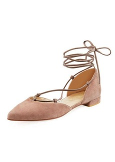 Stuart Weitzman Gilligan Suede Lace-Up d'Orsay Flat