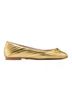 Stuart Weitzman Hillia Flats, Gold Metallic Leather, Size: 9 Wide