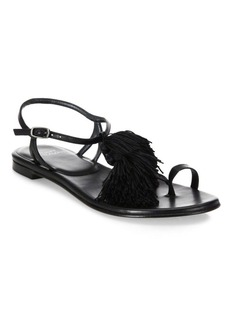 Stuart Weitzman Jabow Tassel Trim Nappa Leather Ankle Strap Sandals