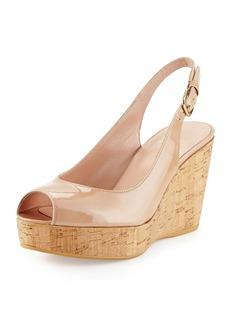 Stuart Weitzman Jean Patent Peep-Toe Wedge Sandal