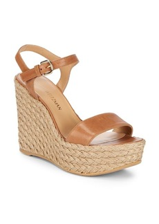 Stuart Weitzman Leather Espadrille Wedges