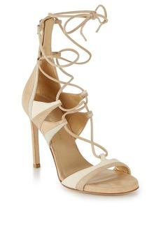 Stuart Weitzman Legwrap Suede Lace-Up Sandals