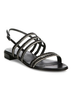Stuart Weitzman Linedrive Braided Leather & Chain Slingback Sandals