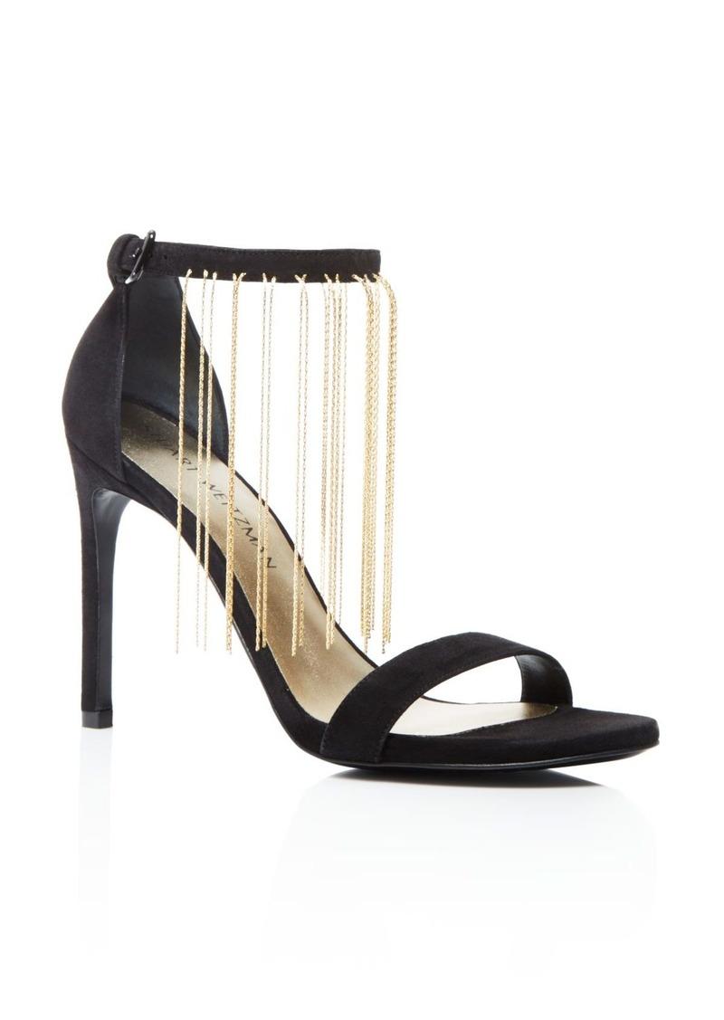 Stuart Weitzman Link Chain Fringe Ankle Strap Sandals