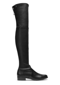 Stuart Weitzman Lowland Over-The-Knee Boots, Black Stretch Nappa Leather, Size: 5.5 Narrow