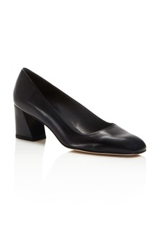 Stuart Weitzman Marymid Leather Block Heel Pumps