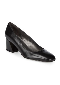 Stuart Weitzman Marymid Leather Block-Heel Pumps