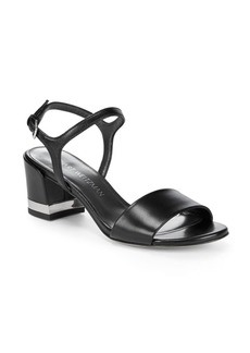 Stuart Weitzman Metal Heel Insert Leather Sandals