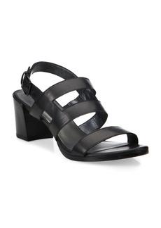 Stuart Weitzman Milanese Strappy Leather Block-Heel Slingbacks