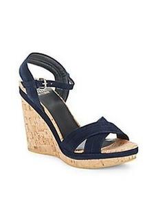 Stuart Weitzman Minky Patent Leather Cork Wedge Sandals