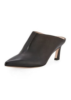 Stuart Weitzman Mira Kitten-Heel Leather Mule