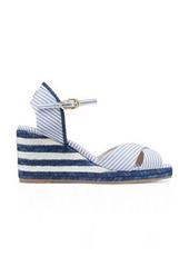 Stuart Weitzman Mirela Stripes Wedges, Cerulean Light Blue Striped Canvas, Size: 5.5 Wide