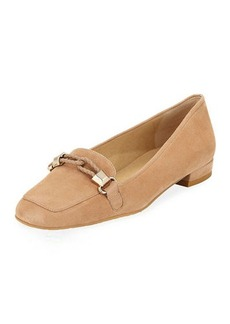 Stuart Weitzman Moctail Suede Square-Toe Loafer