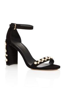 Stuart Weitzman Morepearls Ankle Strap High Heel Sandals