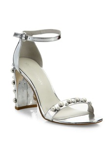 Stuart Weitzman Morepearls Studded Metallic Ankle Strap Sandals