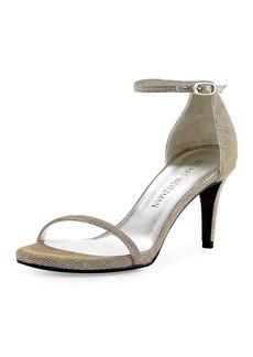Stuart Weitzman Naked Shimmery Low-Heel Sandal