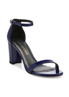 Stuart Weitzman Nearlynude Patent Leather Block Heel Sandals