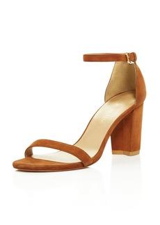Stuart Weitzman Nearlynude Suede Ankle Strap Block Heel Sandals