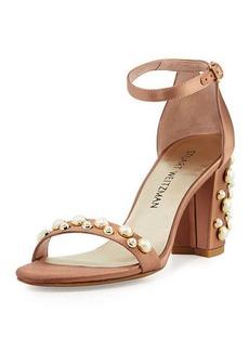 Stuart Weitzman Nearlypearl Embellished Satin Sandal