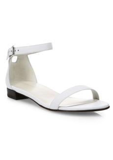 Stuart Weitzman Nudisflat Leather Ankle-Strap Sandals