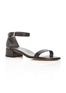 Stuart Weitzman Nudistjune Leather Ankle Strap Block Heel Sandals
