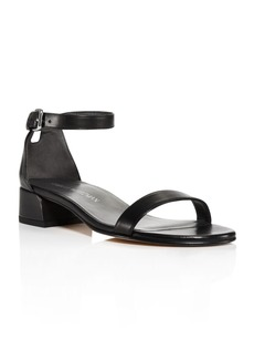 Stuart Weitzman Nudistjune Leather Block Heel Ankle Strap Sandals