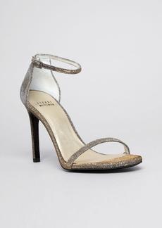 Stuart Weitzman Nudistsong Metallic Glitter Ankle Strap Sandals