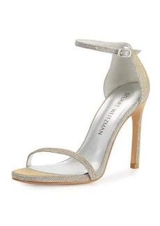 Stuart Weitzman Nudistsong Shimmery Ankle-Wrap Sandal
