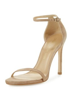 Stuart Weitzman Nudistsong Suede Ankle-Wrap Sandal