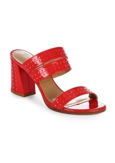 Stuart Weitzman Nutjob Studded Patent Leather Block-Heel Sandals