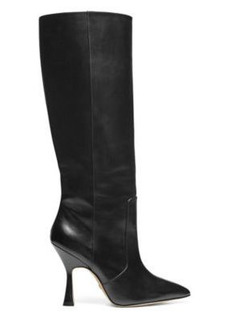 Stuart Weitzman Parton To-The-Knee Boots, Black Leather, Size: 8.5 Wide