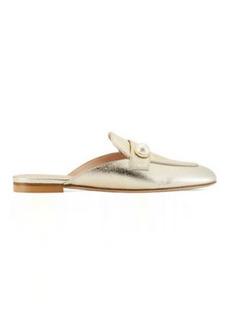 Stuart Weitzman Payson Slide Pearl Flats, Platino Gold Metallic Leather, Size: 11 Medium