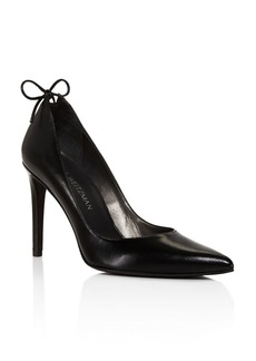 Stuart Weitzman Peekabow Leather Pointed Toe High Heel Pumps