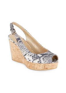 Stuart Weitzman Peep-Toe Leather Wedge Sandals