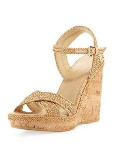 Stuart Weitzman Pixie Woven Cork Wedge Sandal