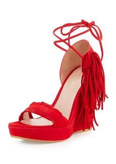 Stuart Weitzman Pompom Fringe Ankle-Tie Wedge Sandal