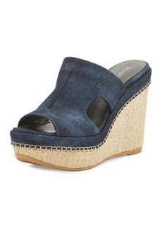 Stuart Weitzman Ponte Denim Wedge Slide Sandal