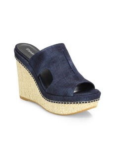 Stuart Weitzman Ponte Denim Woven Wedge Sandals