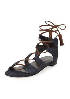 Stuart Weitzman Romanflat Denim Flat Gladiator Sandal