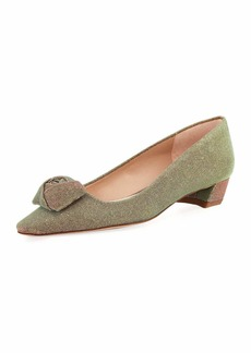 Stuart Weitzman Rose Low-Heel Iridescent Fabric Pump