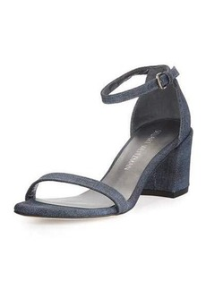 Stuart Weitzman Simple Denim Chunky-Heel Sandal