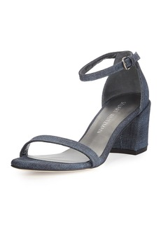 Stuart Weitzman Simple Denim Chunky-Heel Sandal