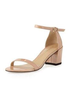 Stuart Weitzman Simple Patent Chunky-Heel City Sandal