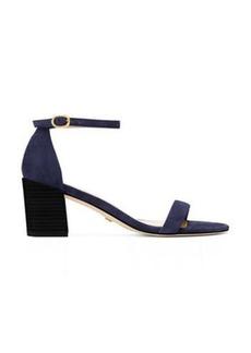 Stuart Weitzman Simple Sandals, Navy Blue Suede, Size: 9.5 Narrow