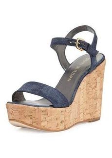 Stuart Weitzman Single Denim Wedge Sandal
